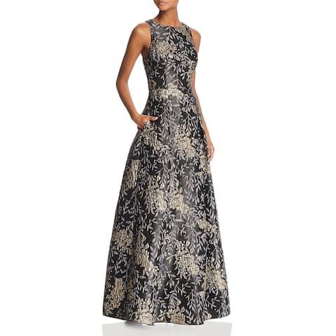 Aidan Mattox Womens Formal Dress Floral Metallic