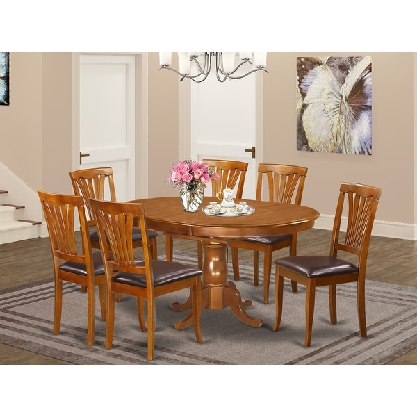 7 Pc set Portland Kitchen Table with Leaf and 6 Leather Chairs in Saddle Brown. Opens flyout.