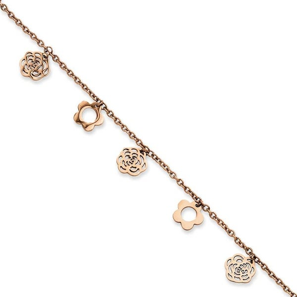 Chisel Stainless Steel Rose Gold IP Flowers Anklet (1 mm) - 10.5 in