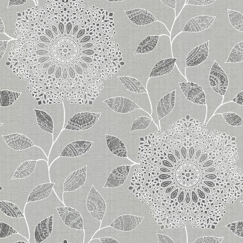Brewster 2618-21315 Shirazi Silver Bohemian Floral Wallpaper