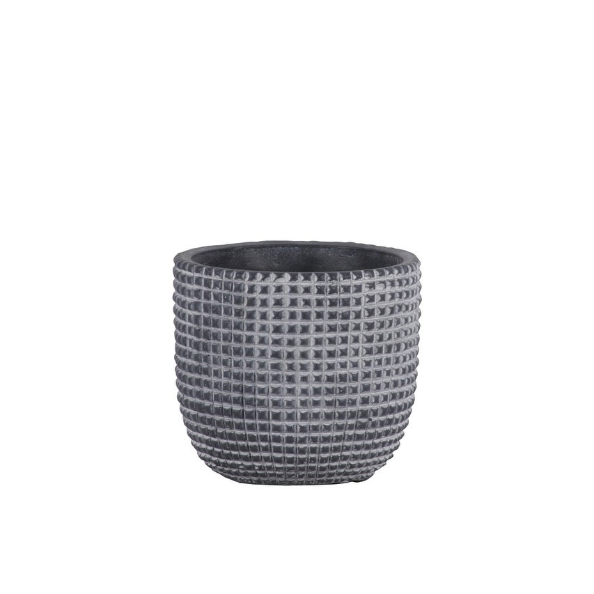Cement Engraved Square Lattice Design Pot With Tapered Bottom, Small, Dark Gray