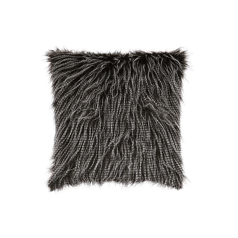 20 x 20 Faux Fur Accent Pillow with Zippered Closure, Set of 4, Black