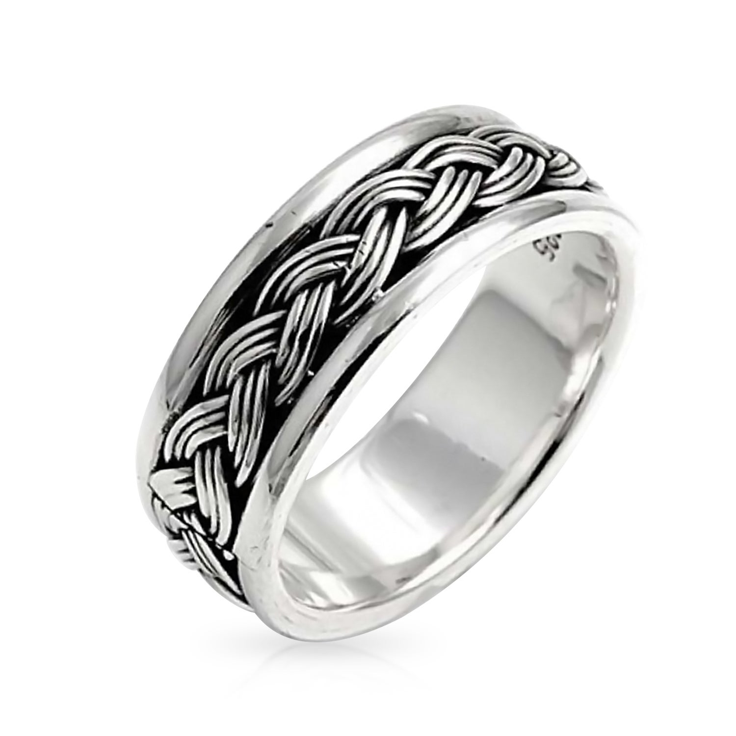 925 Sterling Silver Polished /& Textured Rope Heart Ring Size 6-8