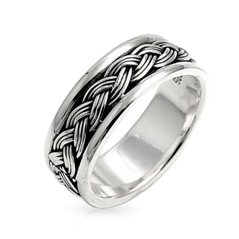Mens Braided Twisted Band Ring Beveled Edge Comfort Fit 925 Sterling Silver Oxidized Two Tone