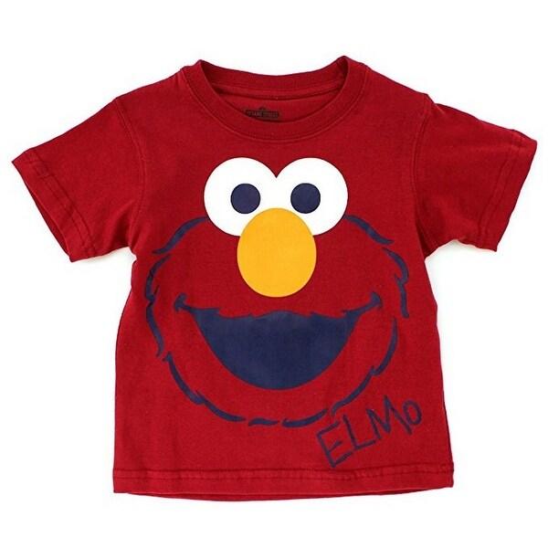 Sesame Street Unisex Baby Red Elmo Face Print Short Sleeved T-Shirt