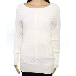 Alfani NEW White Ivory Womens XL Button-Trim Ribbed Boat Neck Sweater