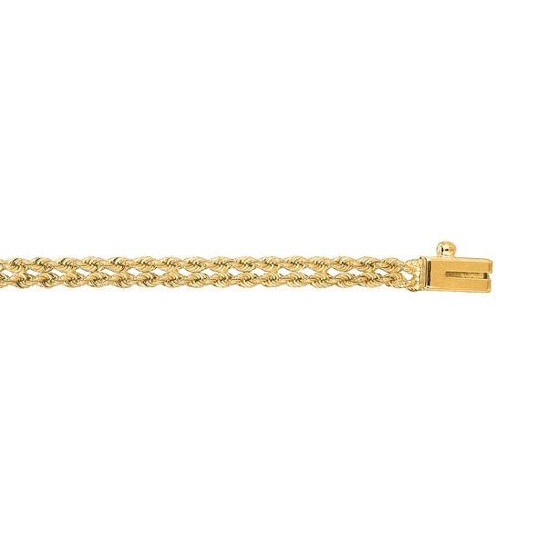 Mcs Jewelry Inc 14 KARAT YELLOW GOLD TWO ROW ROPE CHAIN BRACELET (3MM)