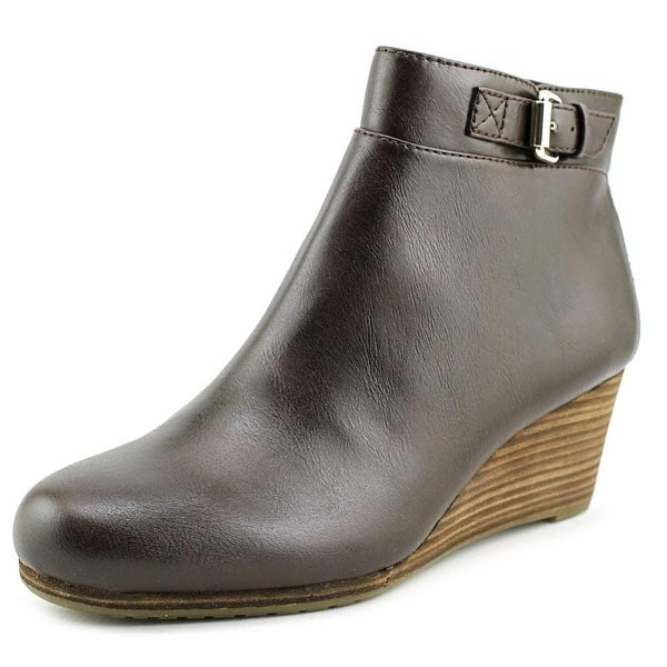 Dr. Scholl's Daina Women Open Toe Leather Brown Wedge Heel