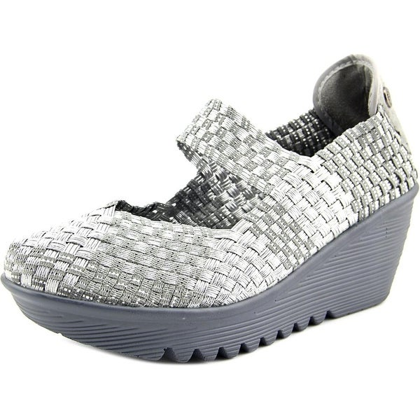 Bernie Mev. Lulia Women Round Toe Canvas Silver Mary Janes