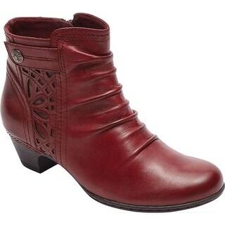 Rockport Women's Cobb Hill Abilene Ankle Boot Bordeaux Leather