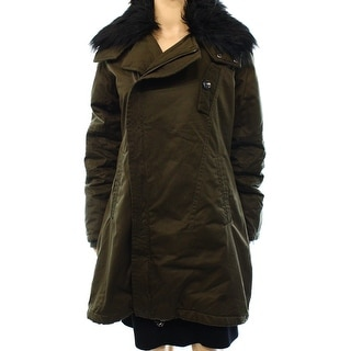 Steve Madden NEW Green Women's Size Large L Faux Fur Parka Coat