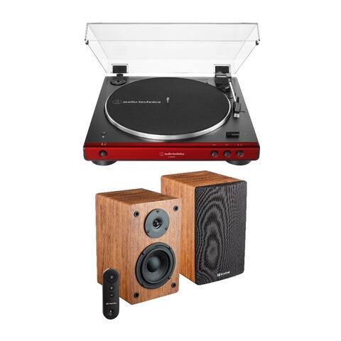 Audio-Technica AT-LP60XBT Stereo Turntable (Red) w/ Bookshelf Speaker