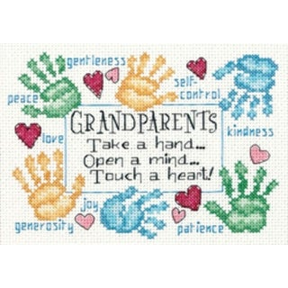 """Grandparents Touch A Heart Mini Counted Cross Stitch Kit-7""""X5"""" 14 Count"""