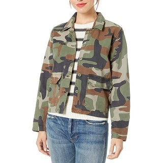 Lucky Brand Womens Shirt Jacket Green Size Small S Camo-Print Utility