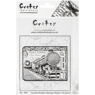 "Chunky Steam Train Tag - Crafty Individuals Unmounted Rubber Stamp 4.75""X7"" Pkg"