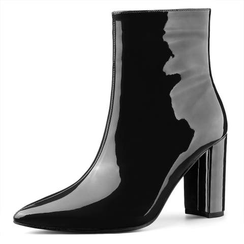 Women's Chunky Heel Pointed Toe Zip Ankle Boots