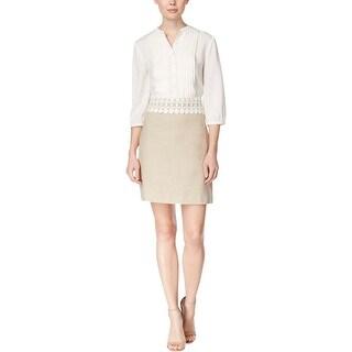 Kensie Womens Wear to Work Dress Linen Crochet Trim - XS