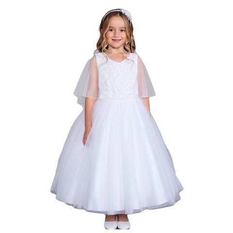 Girls Multi Color Lace Applique Cape Mesh Overlay Communion Dress 2-12