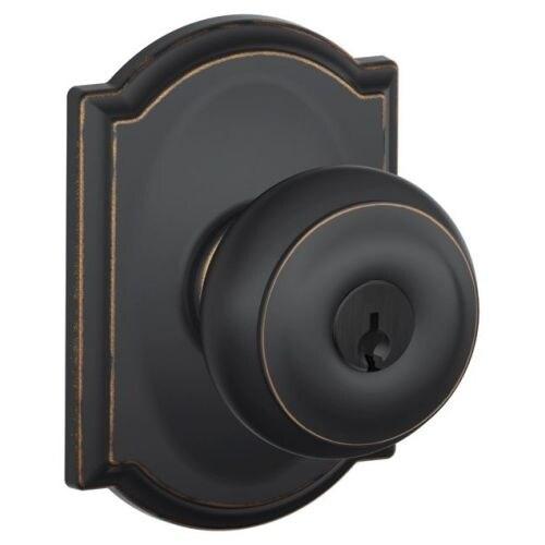 Schlage F51-GEO-CAM Georgian Keyed Entry F51A Panic Proof Door Knob ...