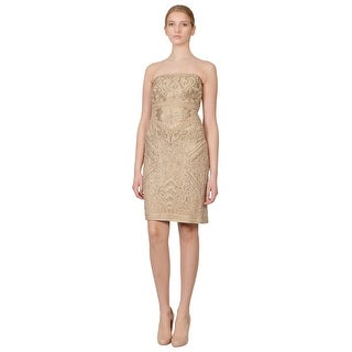 Sue Wong Metallic Embroidered Ribbon Beige Strapless Cocktail Eve Dress - 10