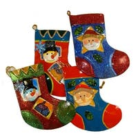 "Club Pack of 144 Santa Claus and Snowman Christmas Stocking Ornaments 5"" - multi"