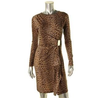 MICHAEL Michael Kors Womens Faux Wrap Leopard Print Wear to Work Dress