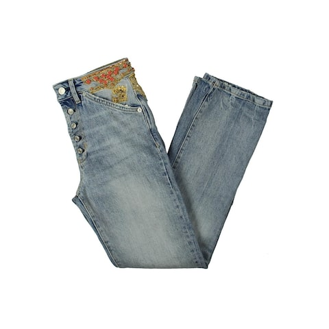 Free People Womens Straight Leg Jeans Embeliished Light Wash