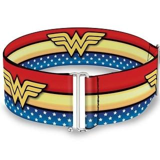 Wonder Woman Logo Stripe Stars Red Gold Blue White Cinch Waist Belt   ONE SIZE - One Size Fits most