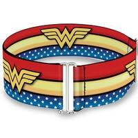 Wonder Woman Logo Stripe Stars Red Gold Blue White Cinch Waist Belt   ONE SIZE