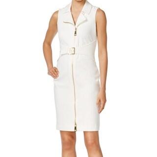 Calvin Klein NEW White Ivory Women's Size 10 Zipped Belted Shirt Dress