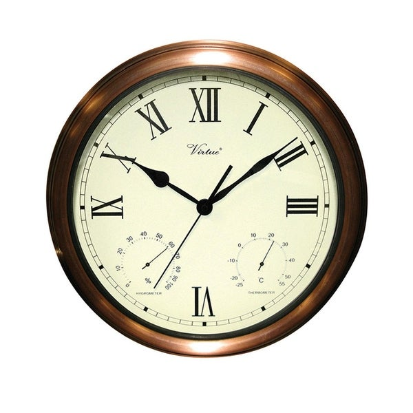 """15"""" Battery Operated Copper Large Print Roman Numeral Outdoor Clock, Thermometer and Hygrometer"""