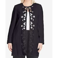 Tahari by ASL Black Women's Size 24W Plus Laser Cut Out Jacket