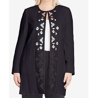 Tahari by ASL Black Womens Size 16W Plus Laser-Cut Topper Jacket