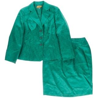 Kasper Womens Skirt Suit 2PC Animal Print