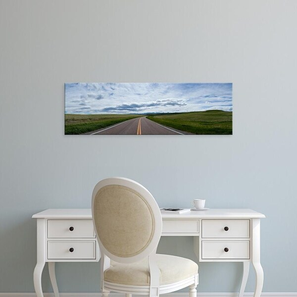 Easy Art Prints Panoramic Images's 'Road passing through a landscape, US Route 89, Montana, USA' Premium Canvas Art