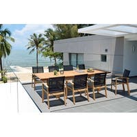 Life Style Garden 9 Piece Teak Finish Patio Dining Set Black Chairs Overstock 31027316