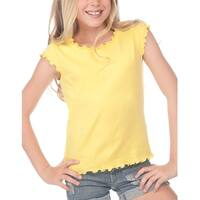 Kavio!Big Girls 7-16 Lettuce Edge Scoop Neck Cap Sleeve Top