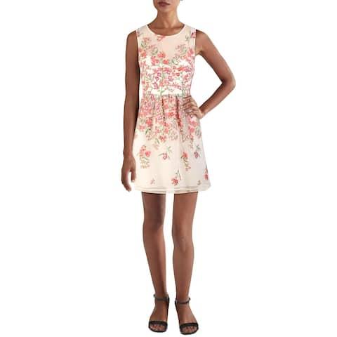 BCBGMAXAZRIA Womens Mini Dress Embroidered Ruched - Gardenia