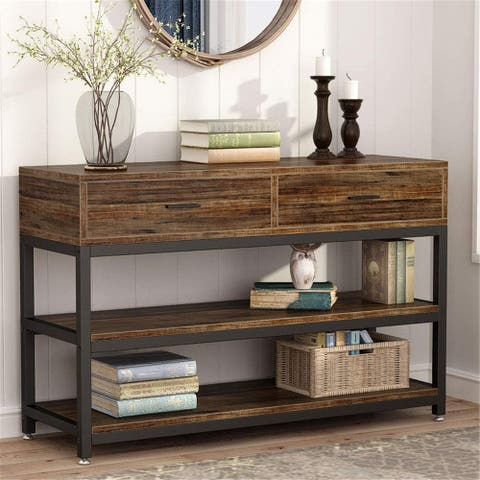 Rustic Console Sofa Table with Drawers, Industrial TV Stand - Brown