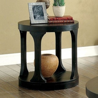 Transitional End Table, Antique Black