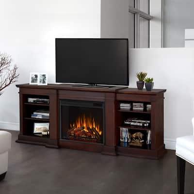 Fresno Media Electric Fireplace in Dark Walnut - 71.73L x 18.98W x 29.88H - 71.73L x 18.98W x 29.88H