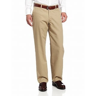 Lee Mens Dress Pants Beige Size 42x30 Flat Front Relaxed Fit Khakis