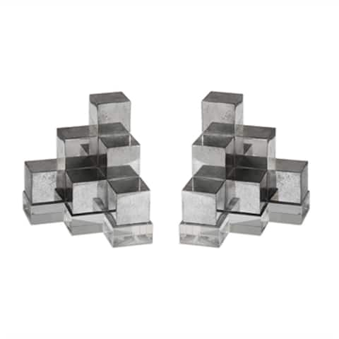 Set of 2 Geometric Silver Bookends 7