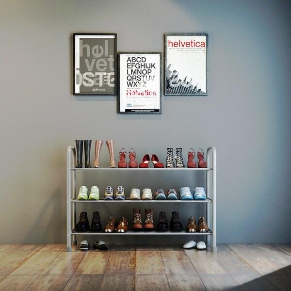 15-pair Metal Shoe Rack Organizer, 3-Tier Free-Standing Home Storage