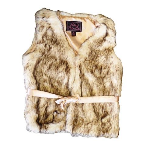 Girls Crystal Fox Faux Fur Vest 7-12