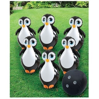 Giant Inflatable Penguin Bowling Set - Fun Indoor/Outdoor Activity Toy for All Ages - Bird Pins with Fabric Covered Ball