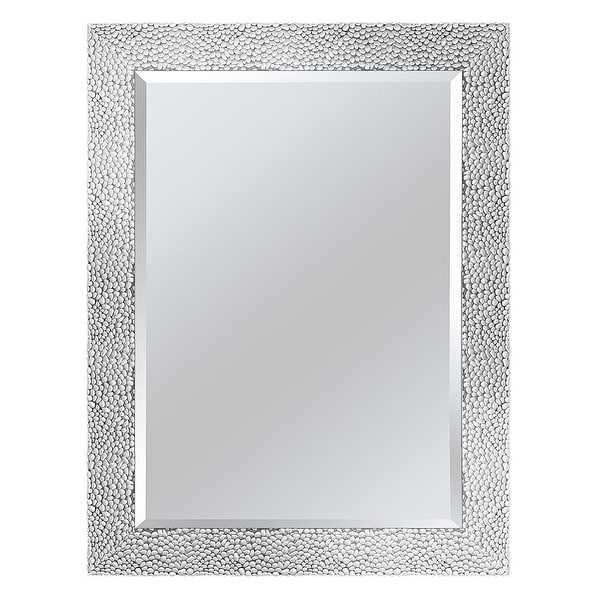 Arche Traditional Pebble Beveled Venetian Framed Wall Mirror - White/Silver - 24*32*0.75. Opens flyout.