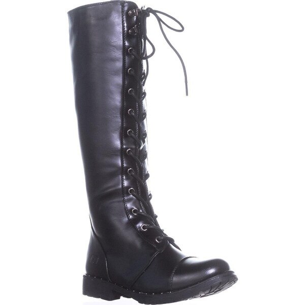 Dirty Laundry Roset Knee High Lace Up Boots, Smooth black - 7 us / 37.5 eu