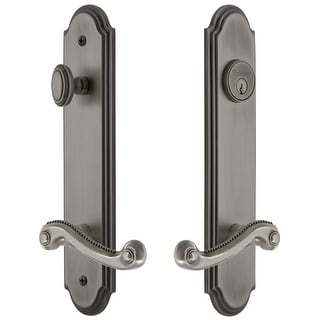 """Grandeur ARCNEW_TP_ESET_234_LH  Arc Solid Brass Tall Plate Single Cylinder Keyed Entry Set with Newport Lever and 2-3/4"""" Backset"""