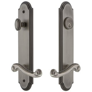 """Grandeur ARCNEW_TP_ESET_238_LH  Arc Solid Brass Tall Plate Single Cylinder Keyed Entry Set with Newport Lever and 2-3/8"""" Backset"""